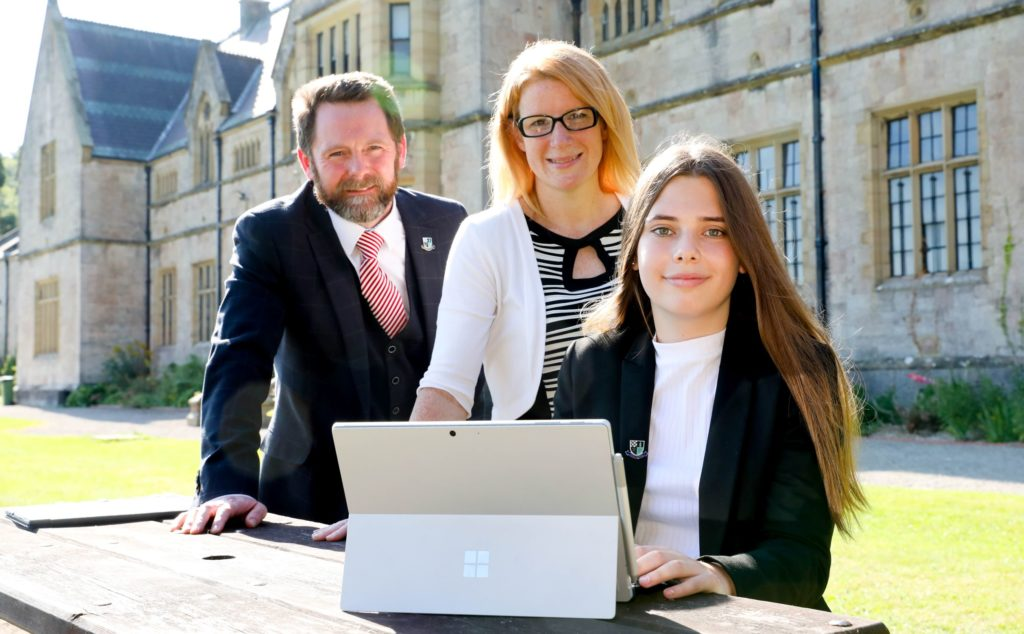 Photo by Rick Matthews. Myddelton College Deputy Headmaster Ian Lloyd and History, Politics and Business Studies teacher Bethan Tout and Sixth Former Libby Argent.