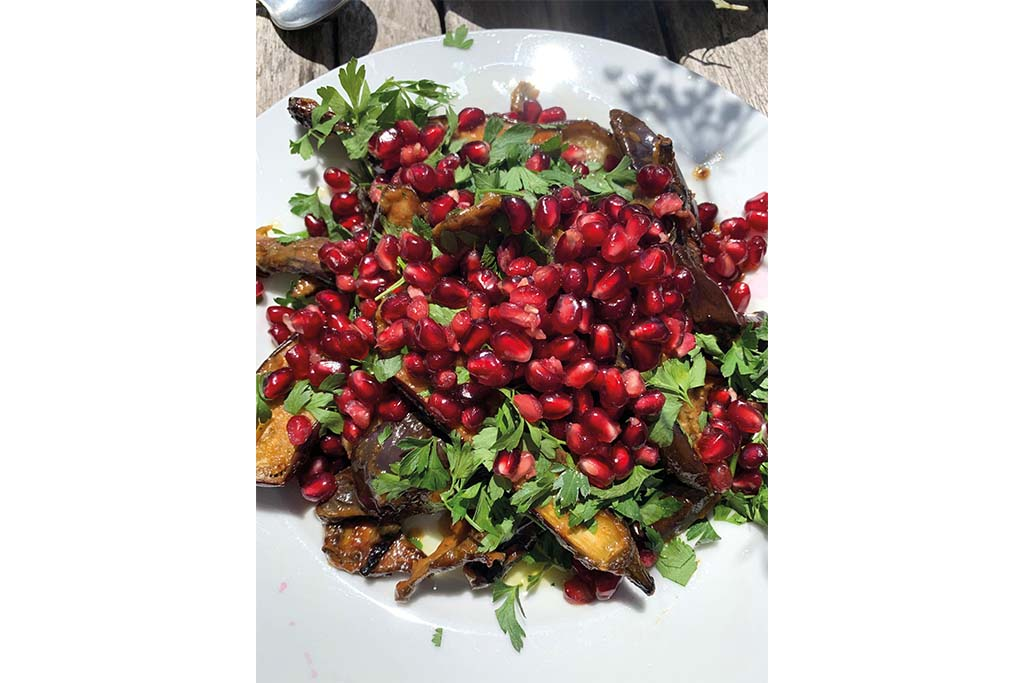 A Lottie Brook speciality: aubergine, pomegranate seeds and loads of herbs