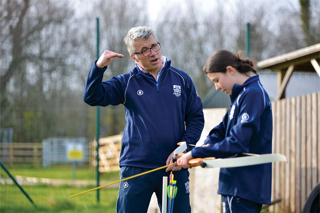 Canford and the Bourne academy: David Neill teaching archery